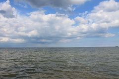 The boundless Baltic sea. Boundless Baltic sea in Sopot Poland summer clear day with beautiful clouds in the sky royalty free stock images