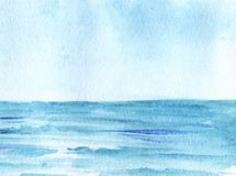 The boundless blue sea, stretching into the horizon, under the azure sky. Hand-drawn watercolor illustration royalty free illustration