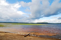 Boundless expanse of Russia (Karelia), sunny day on the beach of Stock Photo
