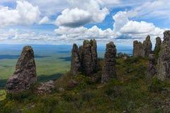 Boundless expanse. view from mountains. natural stone pillars. phenomenon. Chiquitania. Bolivia. Boundless expanse. view from mountains. natural stone pillars Royalty Free Stock Photos