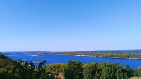 Boundless expanses of nature of Ukraine, the Dnieper River.  Royalty Free Stock Photo