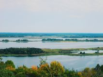 Boundless expanses of nature of Ukraine, the Dnieper River.  Royalty Free Stock Image