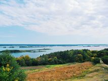 Boundless expanses of nature of Ukraine, the Dnieper River.  Royalty Free Stock Photos