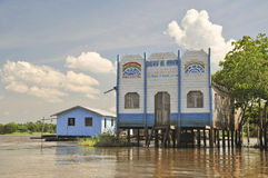 Boundless Faith. A small and humble church on stilts in a far region on the Amazon jungle Stock Image