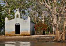 Boundless Faith. A small and humble church in a far region on the Amazon jungle Royalty Free Stock Image