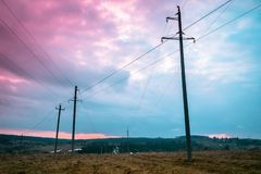 Boundless fields of Russia with power grids royalty free stock photo