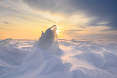 Boundless icy landscape during a snowstorm Stock Photo