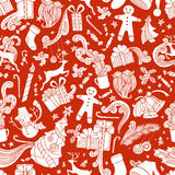 Boundless Red and White Cartoon Christmas Background. Royalty Free Stock Images