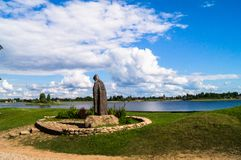 Boundless Russian expanses. Reverend Nil Stolobensky memorial in the Nilus Monastery on the lake Seliger, Tver region. Russia. Picturesque peaceful corner of Stock Images