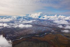 Clouds above the swamp, top view Stock Photography