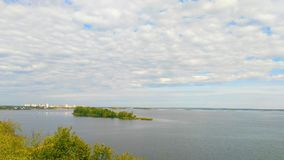 Boundless water spaces of the Dnieper River in Ukraine.  Royalty Free Stock Photo