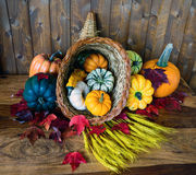Bountiful Cornucopia. A bountiful cornucopia with squash, gourds, pumpkins, wheat and leaves on an old antique table Stock Image