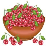 A bountiful harvest. Full bowl of beautiful juicy cherries. Sweet red berries, a source of vitamins and myctoelements. Vector vector illustration