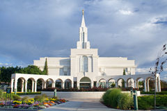 Bountiful Utah LDS Temple. Picture at dusk of Bountiful temple of the Church of Jesus Christ of Latter-day Saints, the Mormons Stock Photos