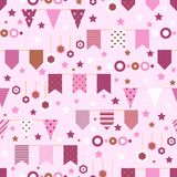Bounting flags, stars and circles decorative elements seamless pattern. Birthday greeting cards and scrapbooking print. Vector illustration Stock Image