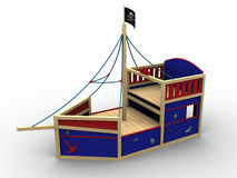 Bounty. 3d image of a toy pirate boat for children to play on royalty free illustration