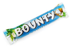 Bounty candy chocolate bar. MOSCOW - DECEMBER 10, 2014: Closeup of Bounty candy chocolate bar made by Mars Inc. isolated on white background stock photo