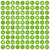 100 bounty icons hexagon green. 100 bounty icons set in green hexagon isolated vector illustration Royalty Free Stock Photo