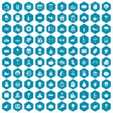 100 bounty icons sapphirine violet. 100 bounty icons set in sapphirine hexagon isolated vector illustration Stock Illustration