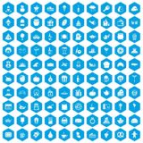 100 bounty icons set blue. 100 bounty icons set in blue hexagon isolated vector illustration Stock Image