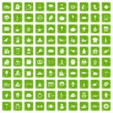 100 bounty icons set grunge green Royalty Free Stock Photography