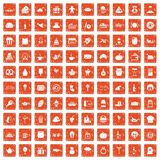 100 bounty icons set grunge orange. 100 bounty icons set in grunge style orange color isolated on white background vector illustration Stock Photography