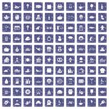 100 bounty icons set grunge sapphire. 100 bounty icons set in grunge style sapphire color isolated on white background vector illustration Stock Image