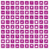 100 bounty icons set grunge pink. 100 bounty icons set in grunge style pink color isolated on white background vector illustration Royalty Free Stock Photo