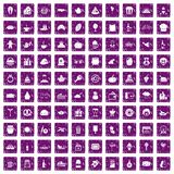 100 bounty icons set grunge purple. 100 bounty icons set in grunge style purple color isolated on white background vector illustration vector illustration