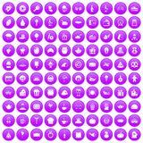 100 bounty icons set purple. 100 bounty icons set in purple circle isolated vector illustration Royalty Free Illustration