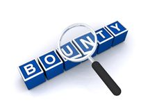 Bounty. Illustrated scrabbled square letter boxes making the word bounty stock photo