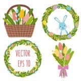 Bouqet de las flores de los tulipanes de la primavera de Pascua, guirnalda de la flor, elementos de los huevos stock de ilustración