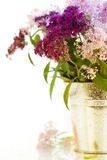 Bouqet of flowers. In a pot over white stock photography