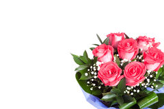 Bouqet of red roses for valentines day. An isolated bouqet of pink red roses in the corner. A gift for a woman for a valentine's day stock images