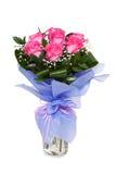 Bouqet von den rosa Rosen lokalisiert auf Weiß Lizenzfreies Stockfoto