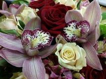 Bouqette von Blumen mit Orchidee Stockfotos