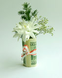 Bouquet in 1000 dollars Stock Images