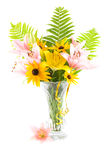 Bouquet. In a vase on a white background Stock Image