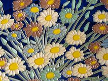 Bouquet. Compact clusters of flowers,close-up of ceramic painting Stock Photo