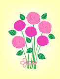 Bouquet. Of five pink roses on the mesh yellow background Stock Image