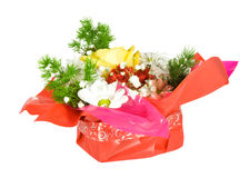 Bouquet. From different flowers in red packing isolated over white stock photo