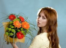 Bouquet. Pretty woman with bright nosegay stock images