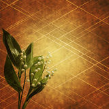 Bouquet on abstract background. A view of a bouquet of Lilies of the Valley flowers against a golden, abstract background royalty free stock photos
