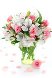 Bouquet alstroemeria and rose. Beautiful bouquet alstroemeria and rose on white isolated background Royalty Free Stock Image