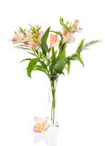Bouquet of alstroemeria in transparent glass vase Stock Photo