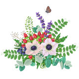 Bouquet of anemones  and flying butterfly Stock Images