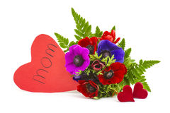 Bouquet Anemones and hearts Stock Photography