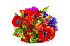 Bouquet Anemones and roses Royalty Free Stock Photos