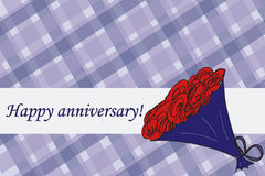 Bouquet anniversary card. On blue tartan with message Royalty Free Stock Image