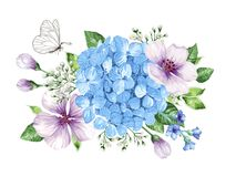 Bouquet of apple tree flower, gypsophila in watercolor style isolated on white background. For greeting cards, prints. All elements are editable stock illustration